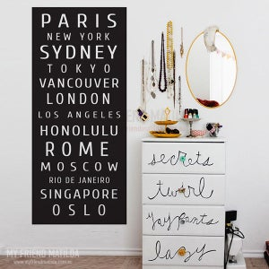 Image of Vinyl Wall Decal Sticker Subway Bus Roll Famous City Destination