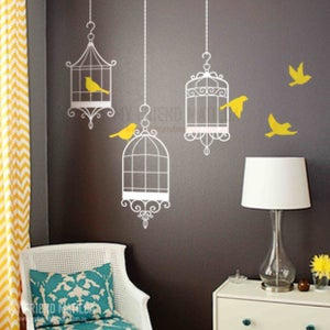Image of Vinyl Wall Sticker Decal Art - Three Birdcages