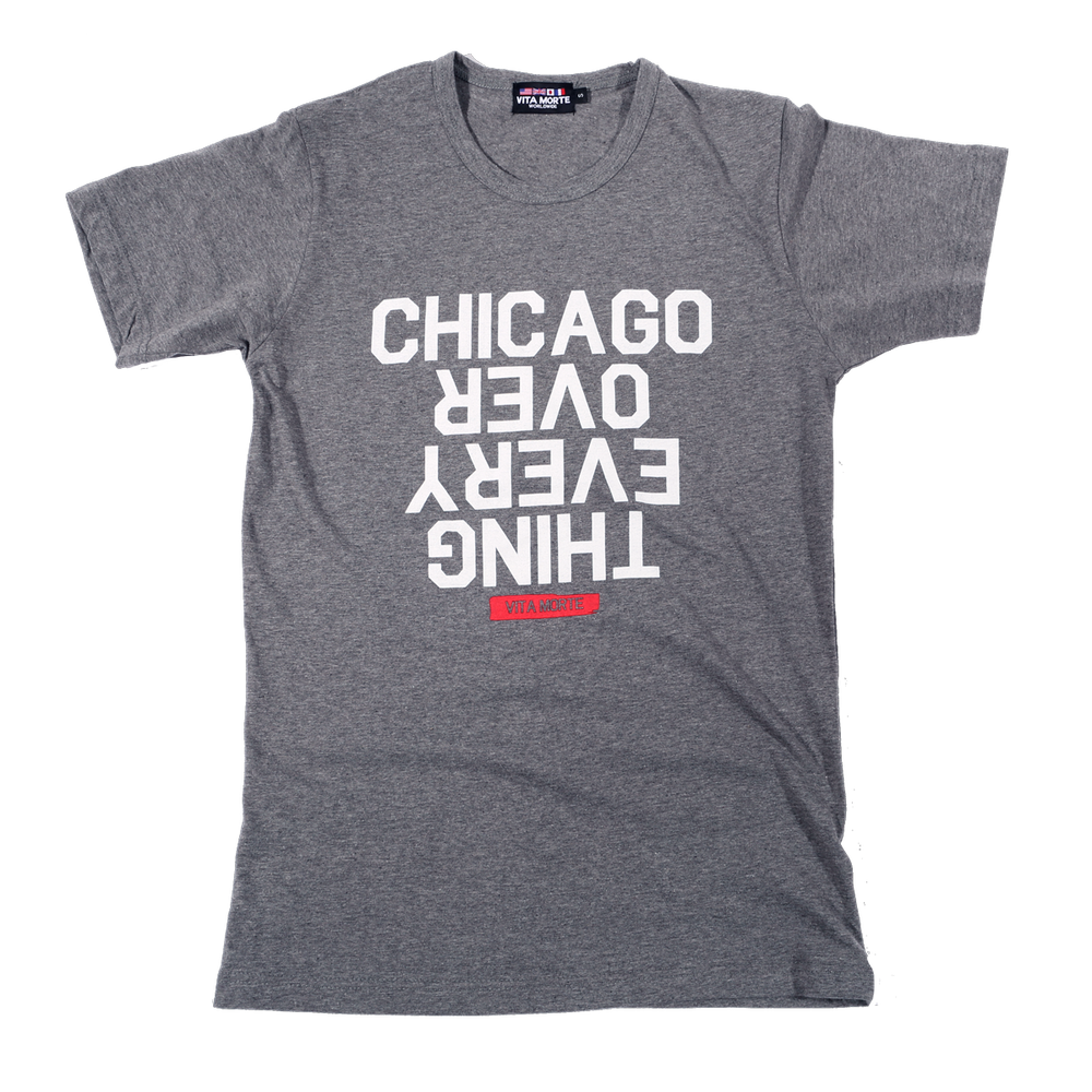 Image of Chicago Over Every Thing Tee (Heather Grey/White/Red)