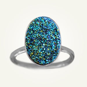 Image of Large Blue Green Druzy Ring, Sterling Silver