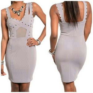 Image of Gray bandage dress with studs