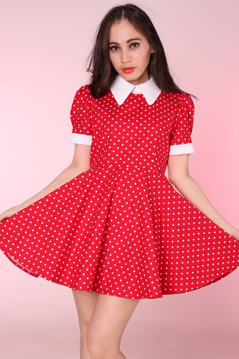 Image of Made To Order - Red Polka Dot Alice Dress