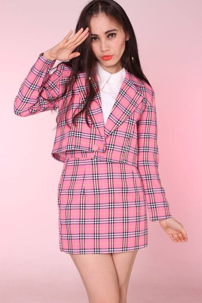 Image of Cher Blazer and Skirt Set in Pink Tartan