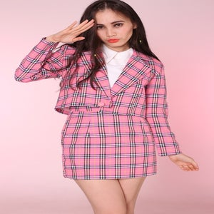 Image of Made To Order - Pink Tartan Cher 2 piece Blazer & skirt Set