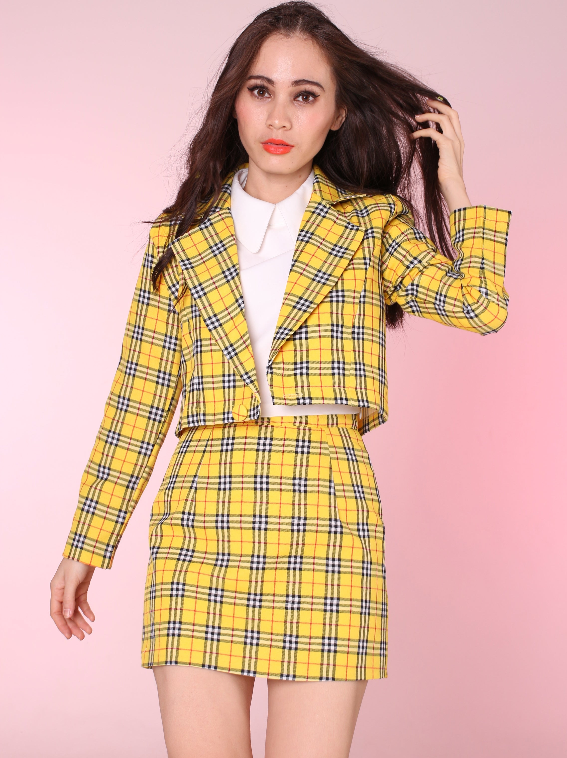 Image of Ready To Post , Cher Yellow Tartan Blazer \u0026 Skirt Set