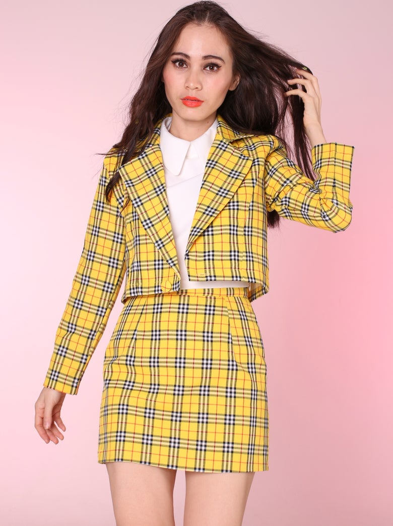 Image of '2 weeks waiitng' Cher Yellow Tartan Blazer & Skirt Set
