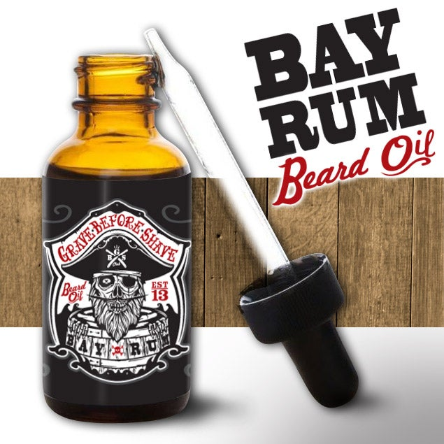 Image of GRAVE BEFORE SHAVE BAY RUM Beard oil/T-shirt combo