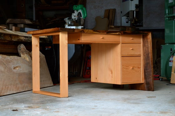 Image of walnut slab desk