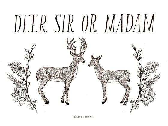 Image of Deer Sir Or Madam / Mini Print