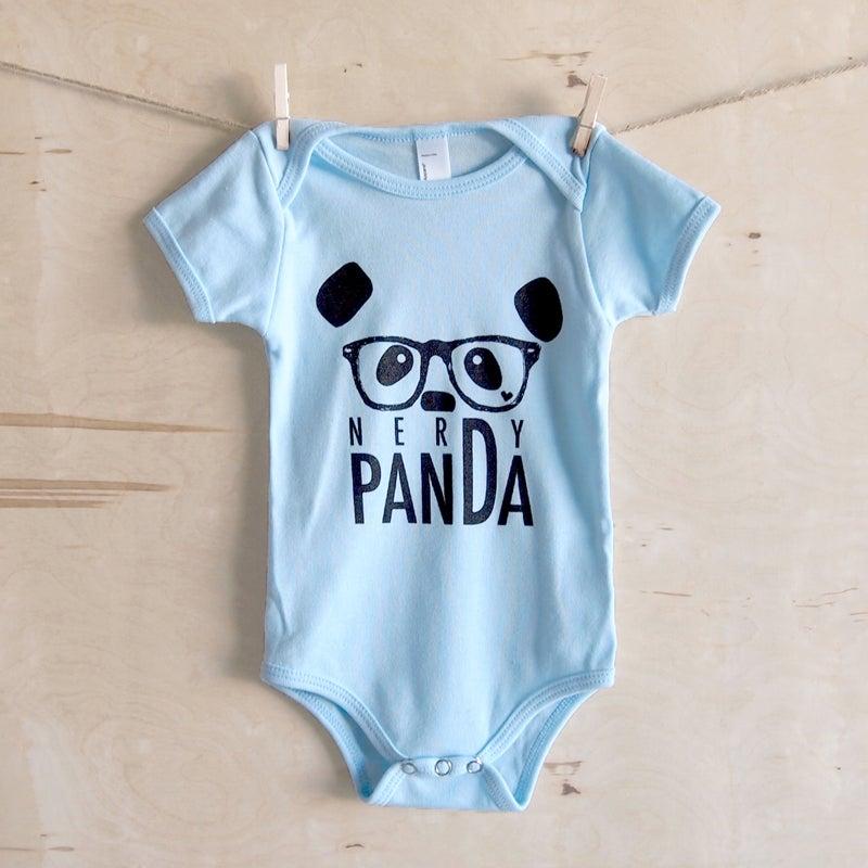 "Image of ""NerDy Panda"" Baby Onesie (Blue)"