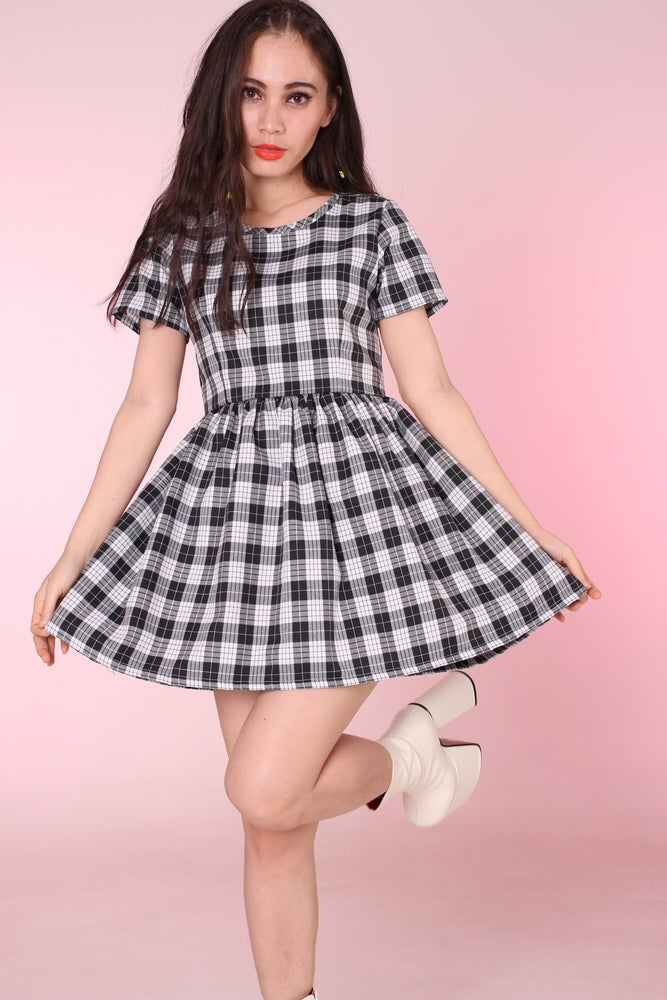 Image of Made To Order - Black & Grey Tartan Baby Doll Dress