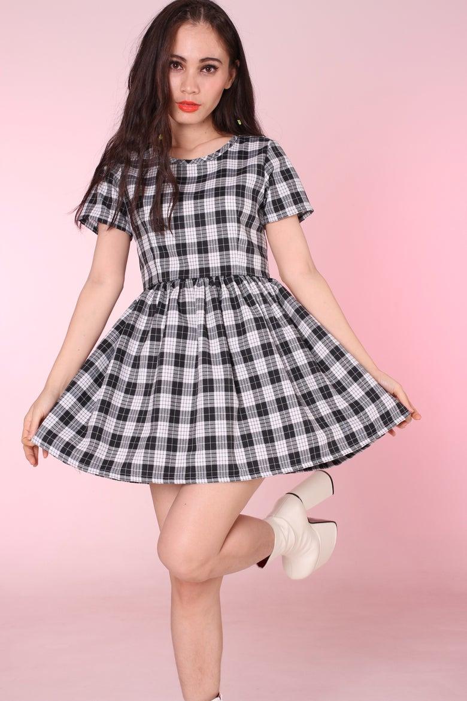 Image of Made To Order - Black & Grey Tartan Baby Doll Dress