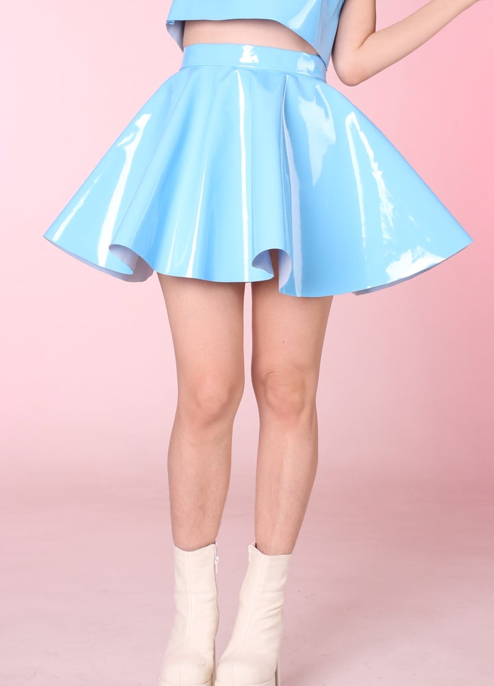 Glitters For Dinner Made To Order Blue Pvc Skater Skirt