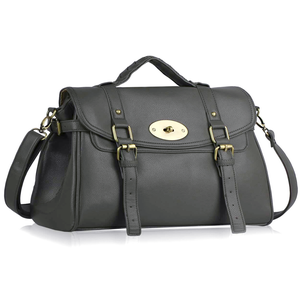 Image of Soft Grey Faux Leather Satchel
