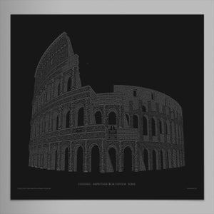 "Colosseo 24""x16"" Limited Edition Poster (Black)"