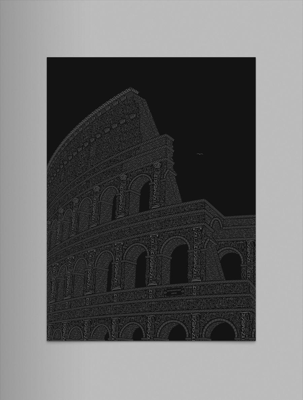 "Image of Colosseo 9""x12"" Letterpress Print (Black)"