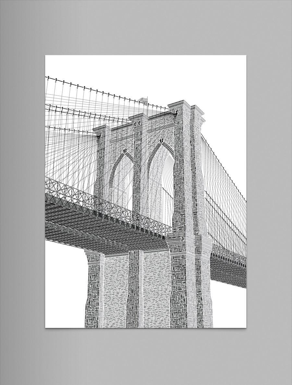 """Image of Brooklyn Bridge 9""""x12"""" Letterpress Print"""