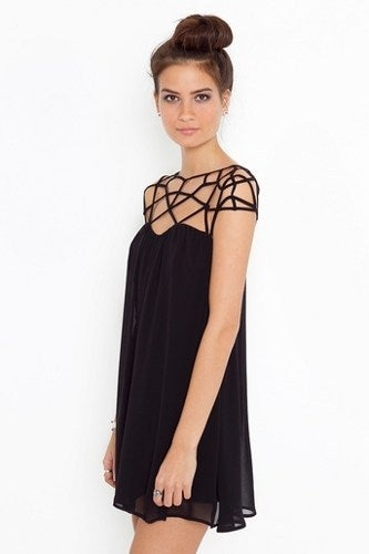 Image of ELEGANT CHIFFON MESH WOVEN HOLLOW OUT DESIGN DRESS