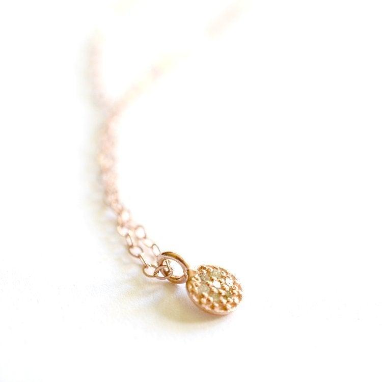 Image of Tiny rose gold pave diamond disc necklace