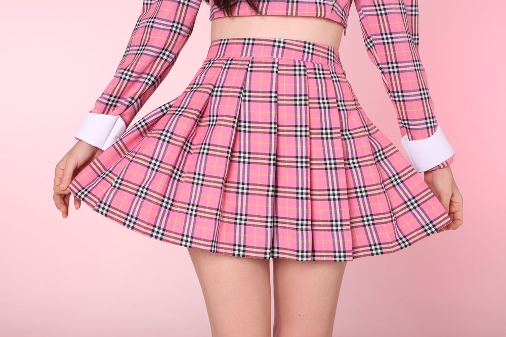 Image of PRE ORDER - Pink As If Tartan Pleated Skirt