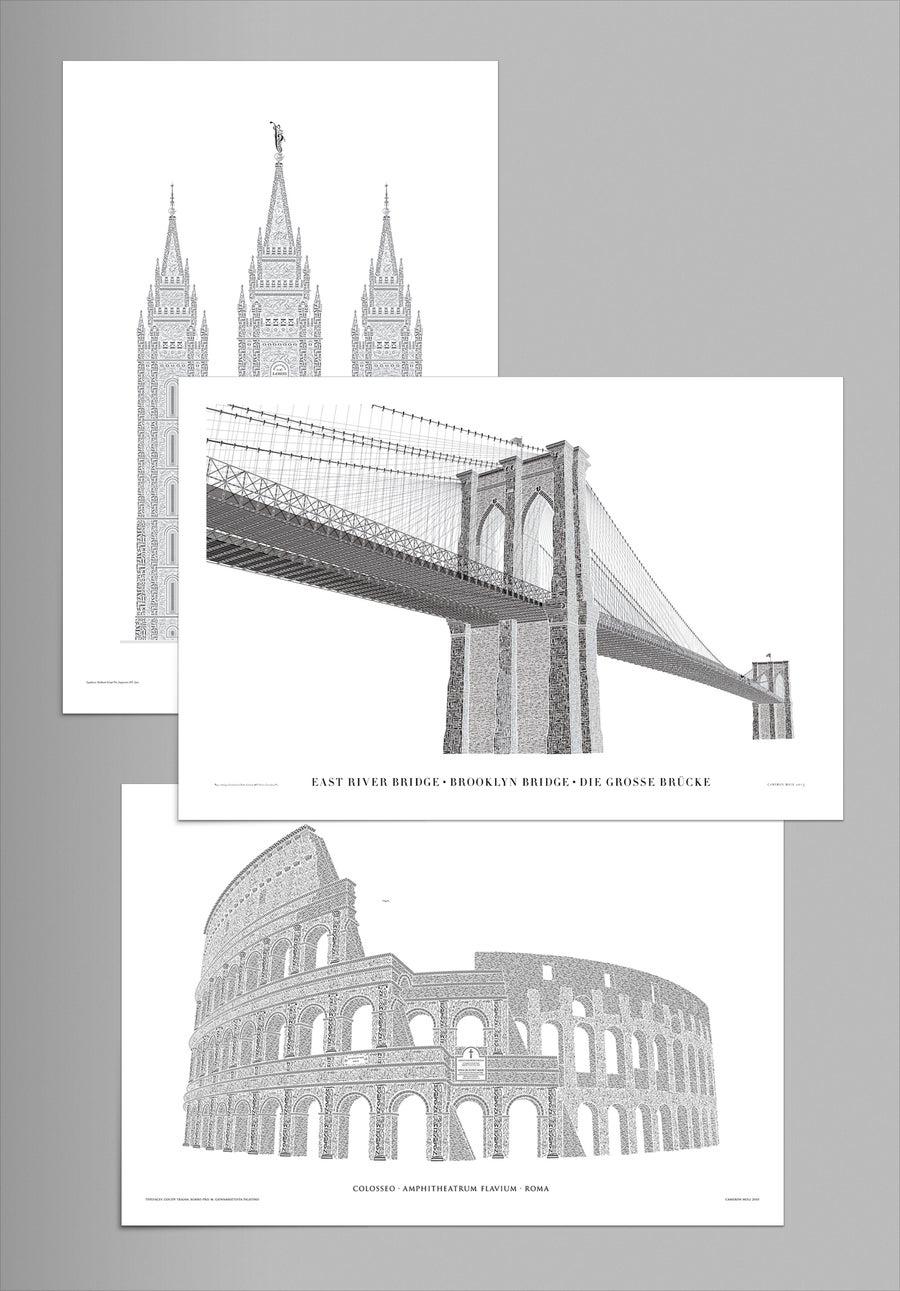 Image of 3-pack: Brooklyn Bridge, Colosseo, Salt Lake Temple