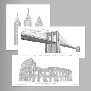 3-pack: Brooklyn Bridge, Colosseo, Salt Lake Temple