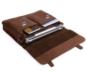 "Image of Handmade Superior Leather Briefcase / Messenger / 14"" 15"" Laptop or 13"" 15"" MacBook Pro Bag (n90)"