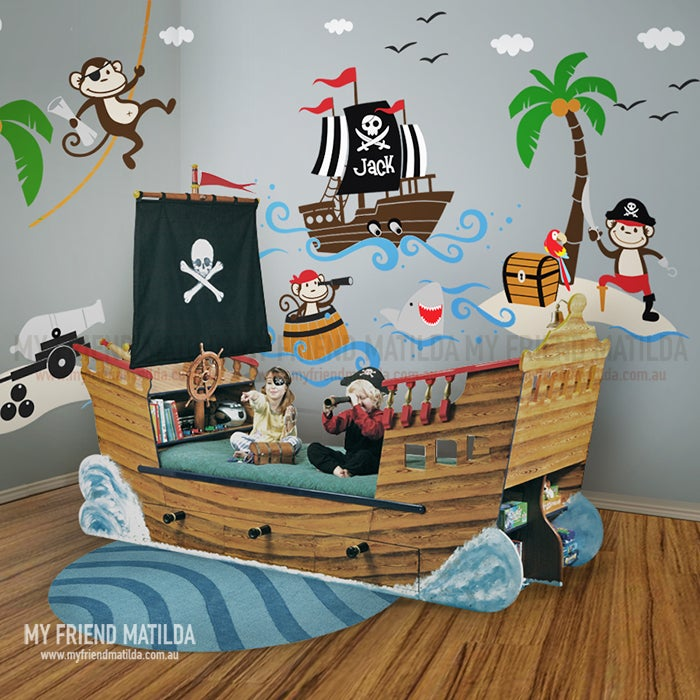 Pirates Kids Wall Decal: Captain Jack & The Treasure Island