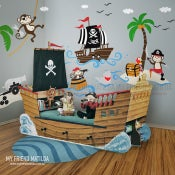 Image of Captain Jack & The Treasure Island - Pirates wall decal sticker for nursery