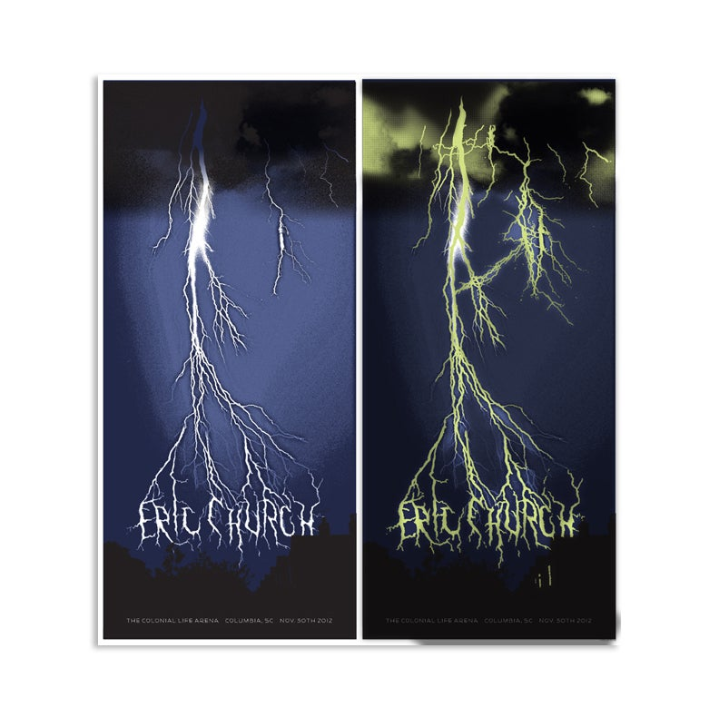 Image of Eric Church Lightning Poster, Columbia, SC