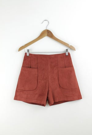 Image of RUST FAUX SUEDE SHORT