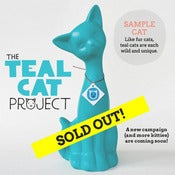 Image of Teal Cat - Centerpiece Sized