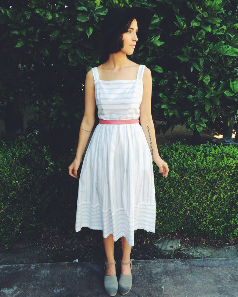 Image of Pinstriped Midi Dress