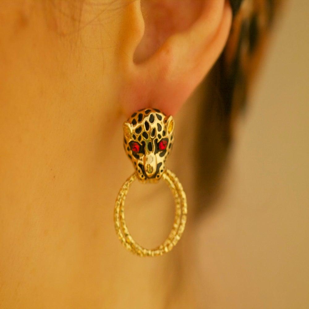 Image of Roar! Jaguar Golden Tone Earring