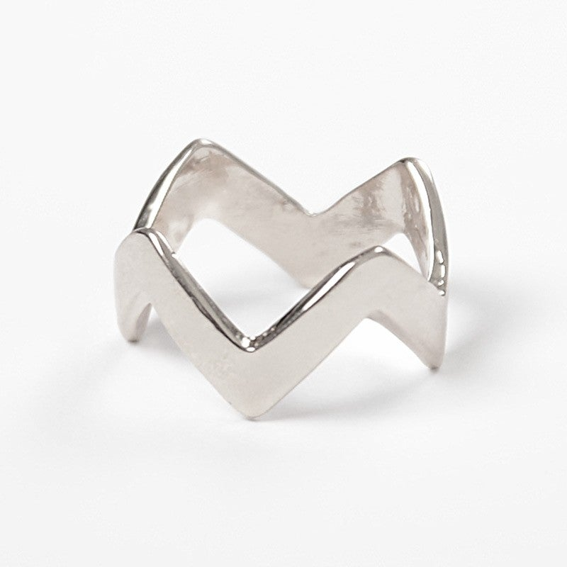 Image of Single Silver Chevron Ring