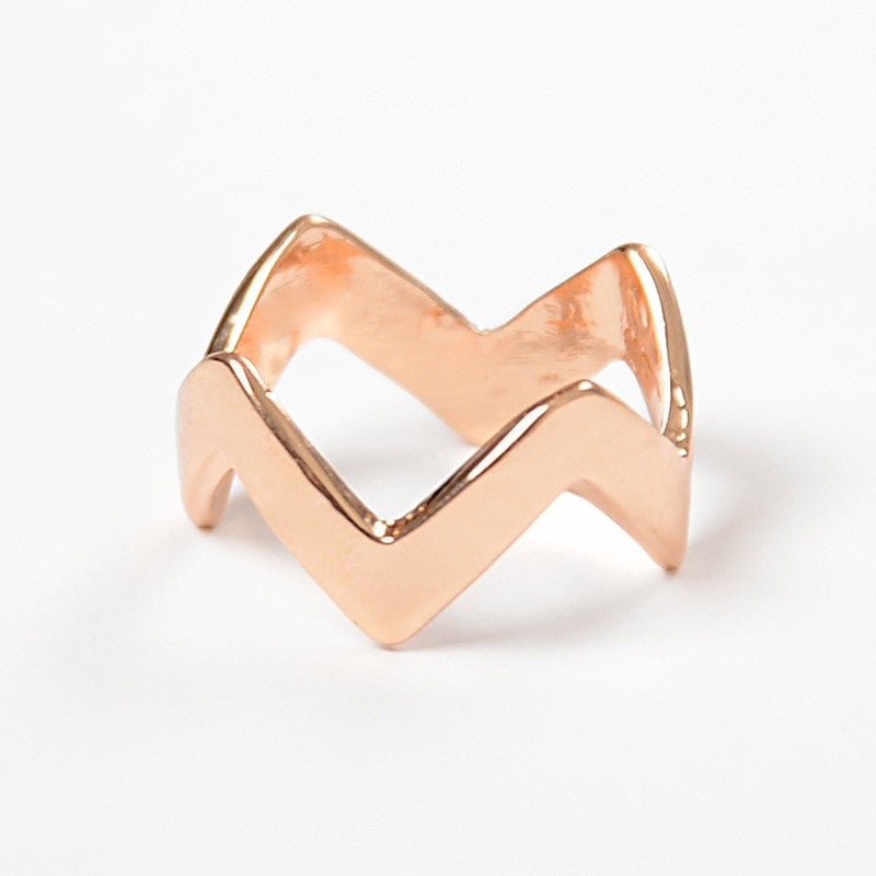 Image of Single Rose Gold Chevron Ring