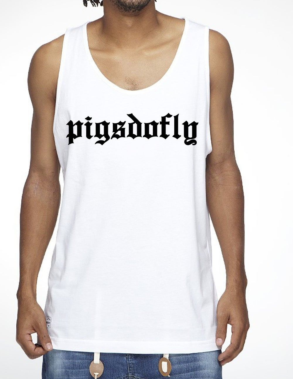 "Image of ""PIGSDOFLY OE"" WHITE/TANK TOP"
