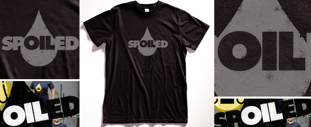 """Image of Gas Oil """"Spoiled"""" Black Graphic T Shirt"""