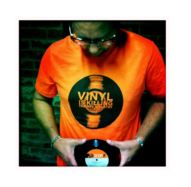 "Image of ""Vinyl is Killing the MP3 Industry"" T-Shirt (Orange)"