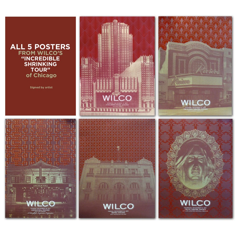 "Image of All 5 Wilco Felt Posters from ""The Incredible Shrinking Tour of Chicago"""