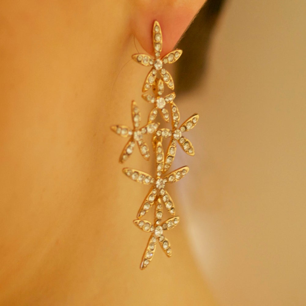 Image of Natural Beauty Golden Tone White Crystal Earrings