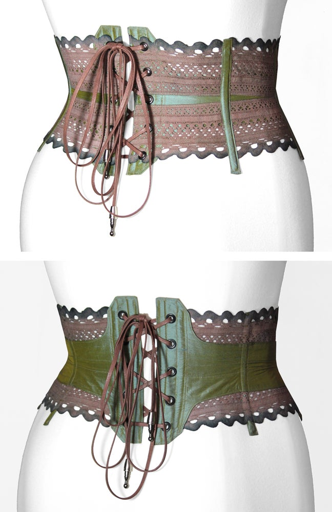 Image of Dusty Rose Reversible Corseted Belt