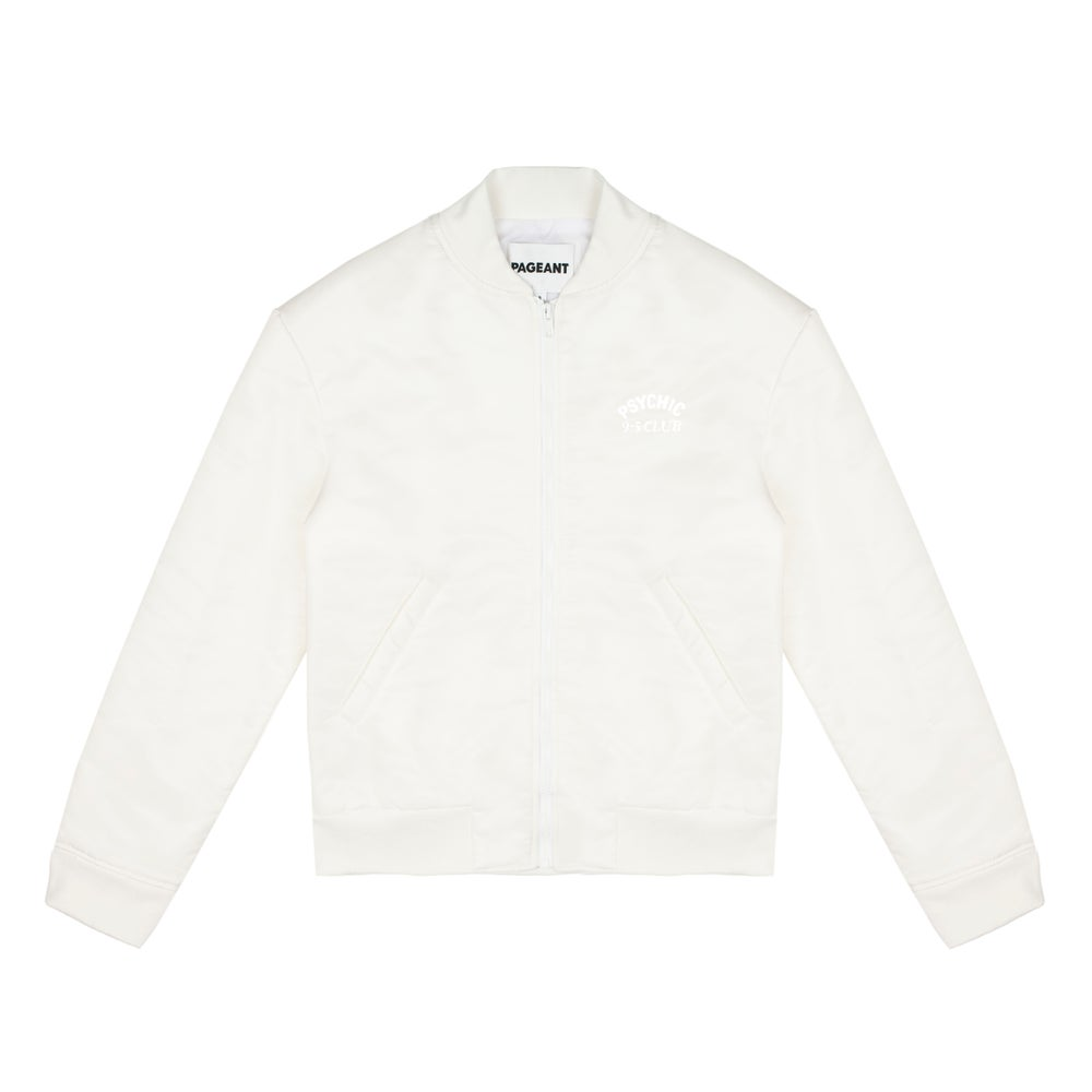 Image of Psychic 9-5 Club Bomber Jacket – White with White Print