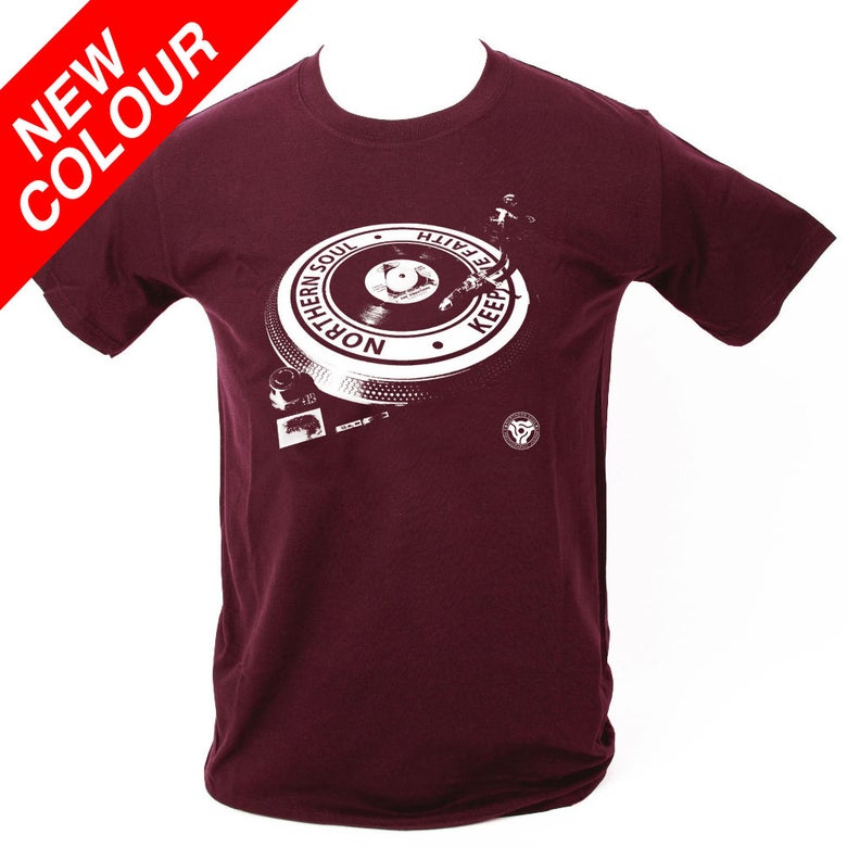 Image of Northern Soul - Turntable T-Shirt. MAROON