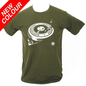 Image of Northern Soul - Turntable T-Shirt. MILITARY GREEN