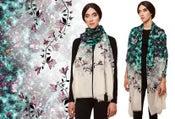 "Image of ""Magnolia"" Print Wool Shawl/Scarf"