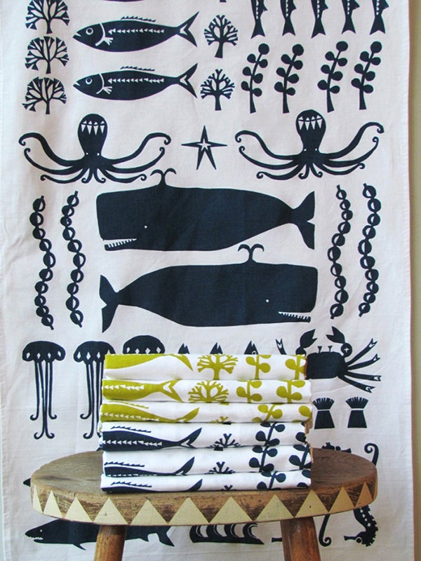 Image of SWIMMING IN THE SEA TEA TOWEL