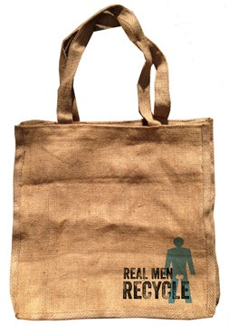 "Image of ""REAL MEN RECYCLE"" - 100% Recycled Burlap Bag"