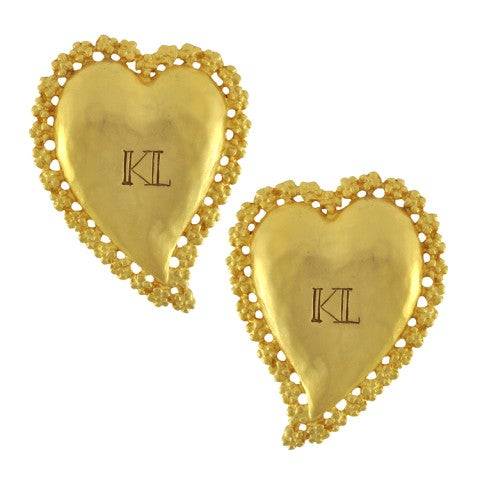 Image of SOLD OUT Karl Lagerfield Large Massive Heart KL Earrings