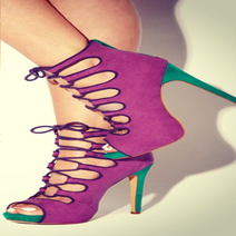 Image of Purple and Sea Green Trista Booties